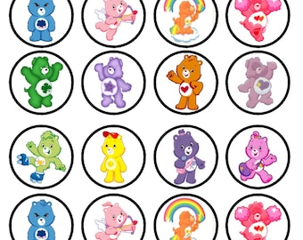 Care Bears Edible Wafer Rice Paper Cake Cupcake Toppers x 24 PRECUT