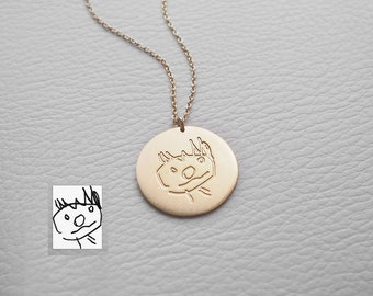 Actual Kid's Drawing on Necklace - Actual Handwriting Necklace - Personalized Child Memorial Necklace - Large Disc - PN03.22