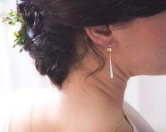 DESTASH earrings drop white and gold