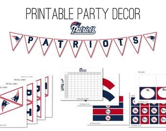 Super Bowl Party Decor, Patriots Party Decor Instant Download, Superbowl Party Decor, Super Bowl Banner, New England Patriots Decor