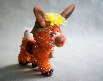 Vintage Bead and Pin Art Donkey, Kitsch Figurine