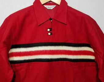 NOS / 1950s Shirt / M / Black & Red / Flannel / Gradation / Rockabilly / New Old Stock / Deadstock / 1950s Mens Fashion / Elvis / RnR / 50s