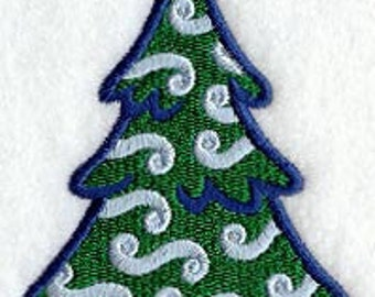 Swirly Christmas Tree Embroidered Flour Sack Hand/Dish Towel