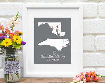 Two States Map, Long Distance Relationship Personalized Map, Friendship Gift, Personalized Bridal Shower, Deployment Gift - Art Print