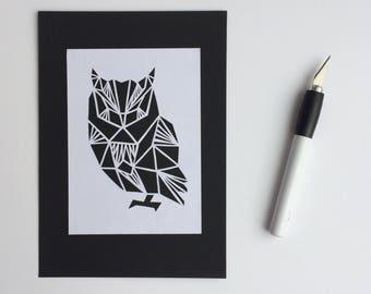 Geometric Owl Papercut