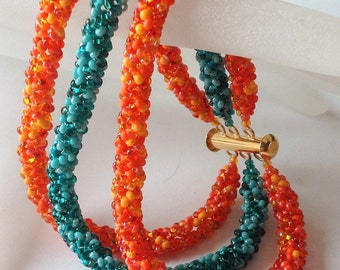 Tangerine and Teal Beadwoven Bracelet, EBW Team, Orange, Teal