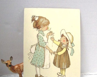 Vintage Holly Hobbie Painting, PBN Paint by Number, Craft,  Browns / Blue, Old Fashioned Girls, Friendship, Sisters, Pinafore Apron Hat