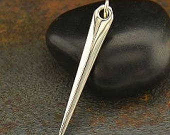Sterling Silver Spike Shard Pendant,  39x 5 x 3mm, 1 pc
