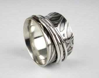 Fidget Spinner Ring - Meditation Ring - Anxiety Spinner Ring - Worry Ring - Wide Spinner Ring - Sterling Silver Spinner Ring - Flower Ring