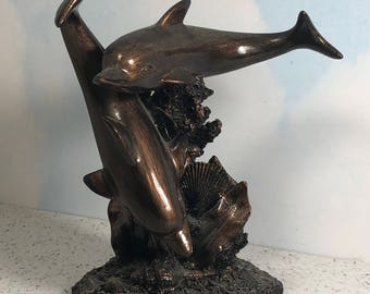 VINTAGE DOLPHIN STATUE copper bronze tone figurine sculpture coral reef porpoise marine life collectible art deco ocean 2