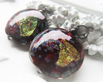 Lampwork Glass Coin Pendant Red Foil Sterling Silver Pendant Item No. 1939 2917