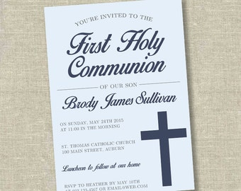 First communion invitation, communion invitation, 1st communion invitation, boy communion invitation, boy first communioin invitation