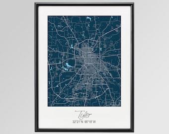 Tyler Texas Map, Tyler City Print, Tyler Poster, Tyler Wall Art gift, Custom city, Personalized map