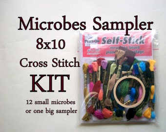 Cross Stitch KIT -- Mix and Match Microbes Sampler 8x10, for doctors, medical, nurse, med student, epidemiology, science