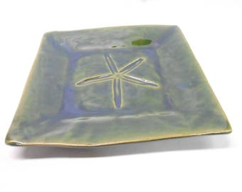 Pottery Starfish Platter Ceramic Platter Medium Square Plate Pottery Plate Green Platter with Starfish Impression Medium in Green