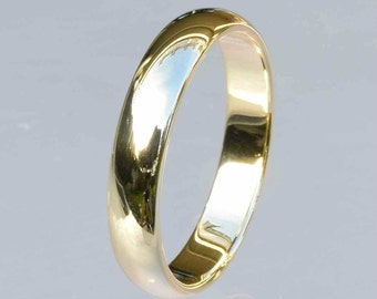 10Kt Gold Band, Domed Wedding Band, 4mm Wedding Band, 10kt Yellow Gold, 10kt White Gold