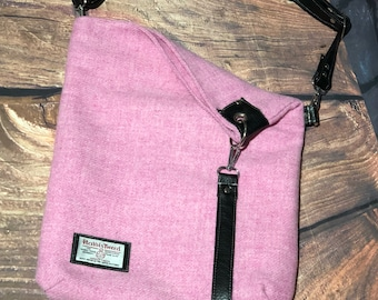 Harris Tweed cross body bag leather bag fold over bag ready to ship