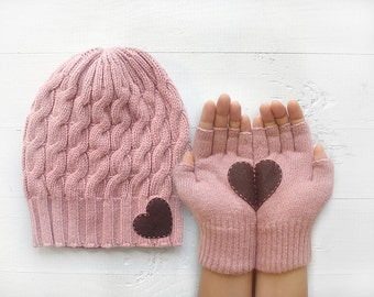 Slouchy Beanie, Women's Gloves, Heart Gloves, Mother's Day Gift, EXPRESS Shipping, Powder Gloves, Pink Hat, Gift For Mother, Women Mitten