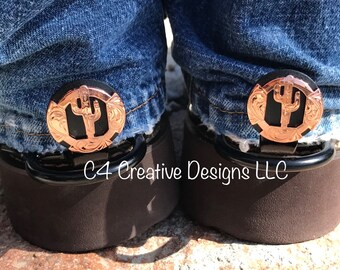 """Copper, Cactus, Cowboy, Conchos, Cowgirl, Western, Unique, Boot, Accessories, Birthday, Mothers day, Cuff keepers, Gift Ideas,  1"""""""