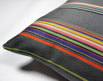 """Maharam Syncopated Stripe fabric designed by Paul Smith - 17"""" x 17"""" modern pillow with feather insert"""