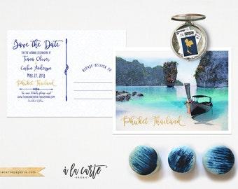 Thailand Phuket Illustrated Destination Wedding Save the Date Postcard  Asian wedding invitation card Thai wedding - Deposit Payment