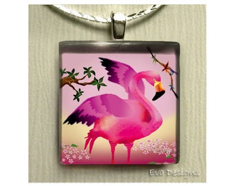PINK FLAMINGO BIRD wild necklace jewelry pet gift 1 inch art glass tile pendant with chain
