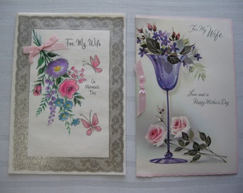 Two 60's Mother Day Cards with Ribbons