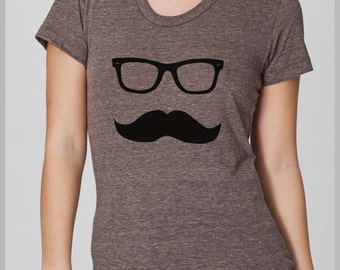 Women's Mustache Wayfarer T Shirt American Apparel S, M, L, XL 8 Colors
