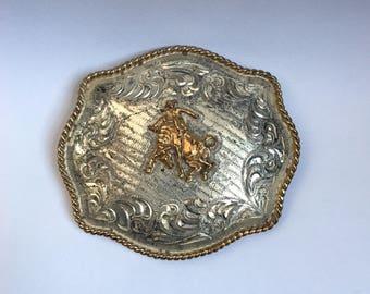 LARGE Vintage Cowboy Belt Buckle. Marked ALPACA MEXICO