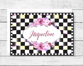 Black & White Check Personalized Note Cards Package of 10