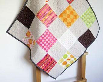 Colorful baby quilt, gender neutral cot quilt, pram quilt, stroller blanket, baby shower gift, multicolor