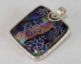 Snowflake Dichroic Glass Cabochon Pendant set in Fine Silver, blue, green and pink dichroic glass, handcrafted, OOAK
