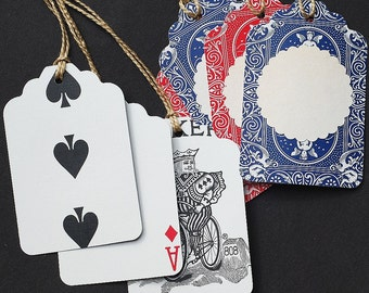 Playing Card Tags- red and blue playing card gift tags, recycled gift tags, poker gift tags, Alice in Wonderland party favor tags
