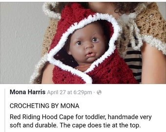 Red Riding Hood Cape for Toddler