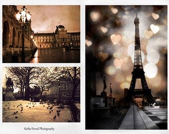 Paris Sepia Photography, Paris Fine Art Photography, Paris Sepia Wall Art Print Set, Eiffel Tower Notre Dame Louvre Museum, Paris Prints