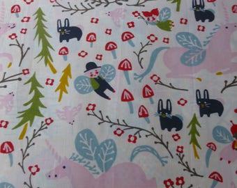 1/2 Yard Organic Cotton Fabric - Birch Fabrics Folkland - Enchanted Unicorns Cream