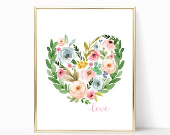 Shabby Nursery. Shabby Nursery Decor. Floral Nursery Decor. Floral Heart Print. Heart Print. Nursery Wall Art. Boho Nursery Art. Pretty Art.