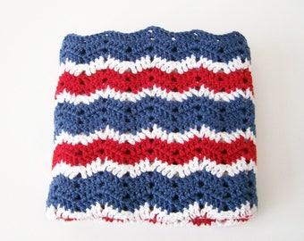 Baby Blanket, Baby Boy Afghan, Baby Girl Afghan, Red, White and Blue Baby Afghan, Patriotic Baby Afghan, Toddler Blanket