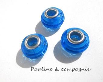 3 blue lampwork glass beads transparent