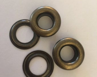 """100 # 1 ( 5/16"""" ) Antique brass self piercing grommets & washers 100 pair"""