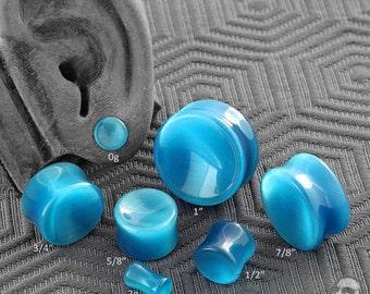 "Concave Blue Cat Eye plugs 2g (6mm), 0g, 00g (9.5mm), 7/16"", 1/2"" 9/16"", 5/8"", 3/4"", 7/8"", 1"""