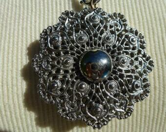 Vintage Halskette mit Spirograph Anhänger Silberton Medaillon