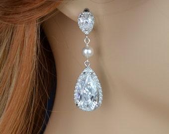 Bridal Earrings, Cubic Zirconia Crystals, Teardrops, Swarovski Pearls, Madelyn Earrings - Will Ship in 1-3 Business Days
