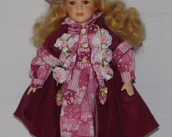 Vintage  Angelina Collection Porcelain Doll 1997 17 Inch