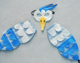 Great Blue Heron Bird Costume - Mask, Wings, Mask & Wing Combo Pack
