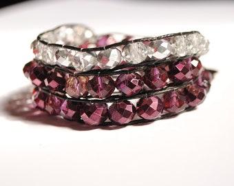 Wrap Bracelet, bracelet for women, Boho bracelet, Bohemian, Beadwork bracelet, Czech crystals bracelet, fashion accessory, birthday gift