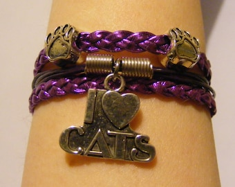 Cat bracelet, cat jewelry, leather cat bracelet, leather cat jewelry, kitty bracelet, kitty jewelry, fashion bracelet, fashion jewelry