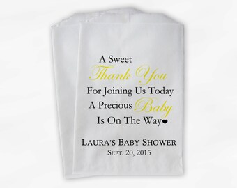 Sweet Thank You Baby Shower Candy Buffet Treat Bags - Set of 25 Yellow Personalized Favor Bags (0108)
