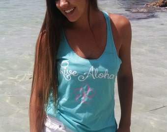 Live Aloha triblend racerback tank top in island blue