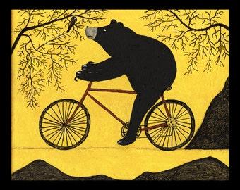 Bicycle riding Bear and Crow Folk Art Painting